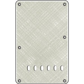 Back plate, string spacing 11,2mm, pearl wh. webbing, 4 ply, standard Strat, 86x138mm