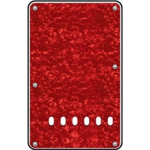 Back plate, string spacing 11,2mm, pearl red, 3 ply, standard Strat, 86x138mm