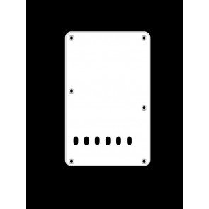 Back plate, string spacing 11,2mm, white, 1 ply, standard Strat, 86x138mm, lefthanded