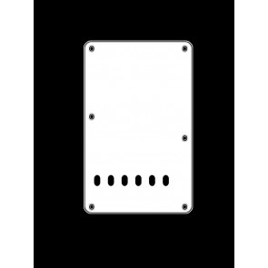 Back plate, string spacing 11,2mm, white, 3 ply, standard Strat, 86x138mm, lefthanded