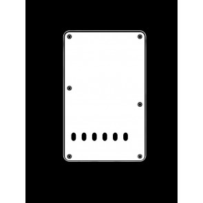 Back plate, string spacing 11,2mm, vintage white, 3 ply, standard Strat, 86x138mm, lefthanded