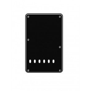 Back plate, string spacing 11,2mm, black, 3 ply, standard Strat, 86x138mm, lefthanded