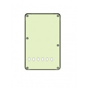 Back plate, string spacing 11,2mm, mint, 3 ply, standard Strat, 86x138mm, lefthanded