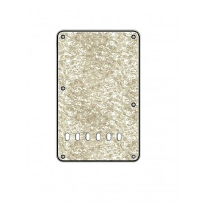 Back plate, string spacing 11,2mm, pearl white, 3 ply, standard Strat, 86x138mm, lefthanded