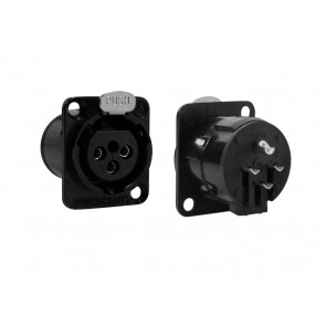 Switchcraft XLR chassis connector, female, black, voor N-style D-hole