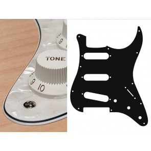 Pickguard Strat, 4 ply, pearl white, standard, SSS, 3 pot holes, 3-5 switch