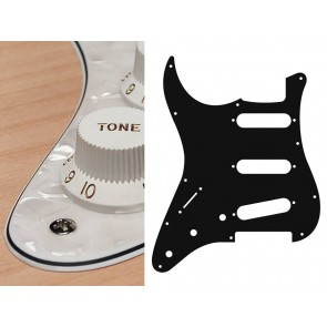 Pickguard Strat, 4 ply, pearl white, standard, SSS, 3 pot holes, 3-5 switch, lefthanded