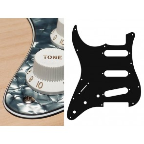 Pickguard Strat, 4 ply, pearl black, standard, SSS, 3 pot holes, 3-5 switch, lefthanded