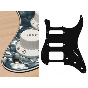 Pickguard Strat, 4 ply, pearl black, SSH, 3 pot holes, 3-5 switch