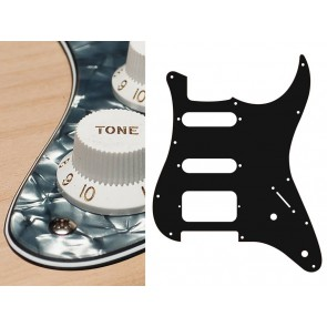 Pickguard Strat, 4 ply, pearl black, SSH, 2 pot holes, 3-5 switch