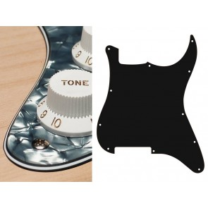 Pickguard Strat, 4 ply, pearl black, no holes (only screw holes)