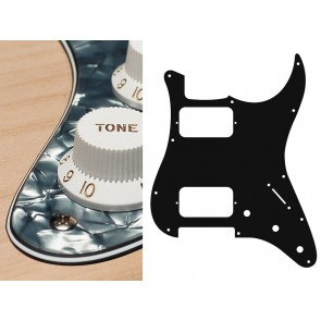 Pickguard Strat, 4 ply, pearl black, HH, 3 pot holes, 3-5 switch