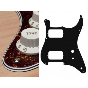 Pickguard Strat, 4 ply, tortoise fine, HH, 2 pot holes, toggle switch