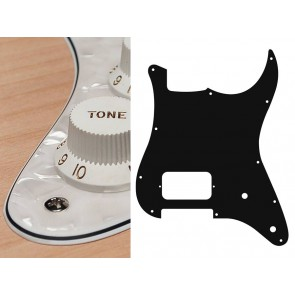 Pickguard Strat, 4 ply, pearl white, H, 2 pot holes