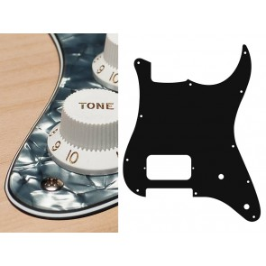 Pickguard Strat, 4 ply, pearl black, H, 2 pot holes