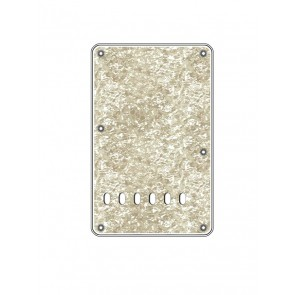 Back plate, string spacing 11,2mm, pearl white, 4 ply, standard Strat, 86x138mm, lefthanded