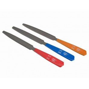 Hiroshima Japan nut slotting files, with tapered ends, set of 3 pcs (19cm length, 14mm width, 2mm thickness)