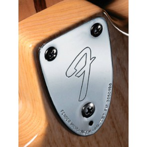 Fender Genuine Replacement Part neck plate American Vintage '70s for guitar 'F-logo' chrome 3 bolt