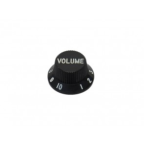 Bell knob,Strat, black, volume, fits both 24 fine (CTS) and 18 coarse knurl (Alpha), m.i. Japan