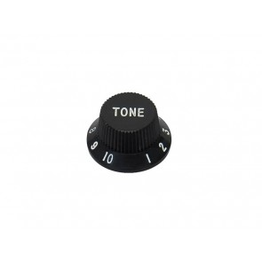 Bell knob,Strat, black, tone, fits both 24 fine (CTS) and 18 coarse knurl (Alpha), m.i. Japan
