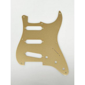 Fender Genuine Replacement Part pickguard '57 Vintage Strat SSS 8 screw holes 1-ply gold anodized