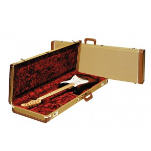 Fender deluxe case for electric guitar leather handle and ends tweed & red poodle plush interior