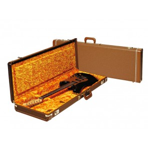 Fender deluxe case for electric guitar leather handle and ends brown tolex & gold plush interior