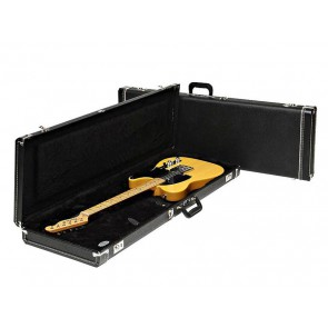 Fender deluxe case for electric guitar leather handle and ends black tolex & black interior