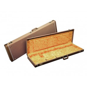 Fender deluxe case for Precision Bass leather handle and ends brown tolex & gold plush interior