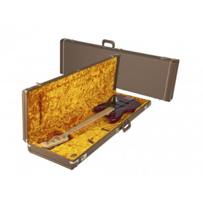 Fender deluxe case for Jazz Bass/Jaguar Bass leather handle and ends brown tolex & gold plush interior