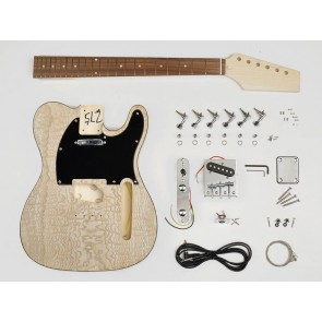 Guitar assembly kit, Tele model, basswood + figured maple body, 22 frets
