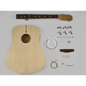 Guitar assembly kit, acoustic dreadnought guitar, basswood body, 20 frets