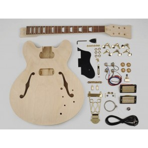 Guitar assembly kit, archtop model, basswood body, 22 frets