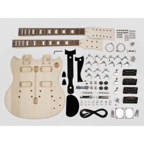 Guitar assembly kit, double neck model, basswood body, 22 frets, bolt-on neck