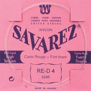 Savarez D-4-snaar, silverplated nylon (rouge), sluit aan bij 520-R set, hard tension