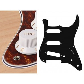 Pickguard Strat, standard, SSS, 3 pot holes, 3-5 switch, 4 ply, tortoise