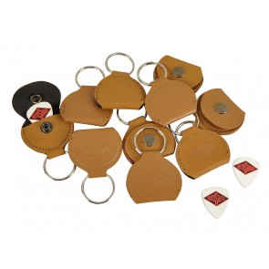 Rotosound key ring, with brown leather pick holder, with 0.73mm white celluloid logo pick
