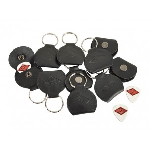 Rotosound key ring, with black leather pick holder, with 0.73mm white celluloid logo pick