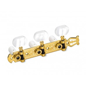 Schaller machine heads Lyra model, acrylic white pegs, white string rollers, gold