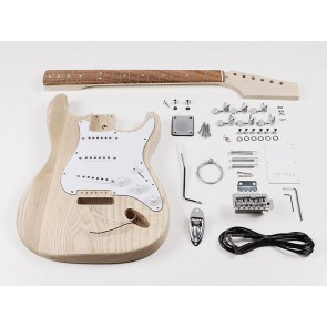 Guitar assembly kit, Strat model, ash body, maple neck, pauferro fb, S-S-S pickups