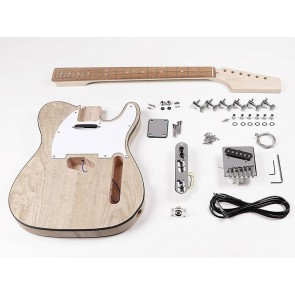 Guitar assembly kit, Teaser model, mahogany body ash veneer, maple neck, pau ferro fb, S-S pickups