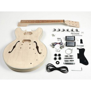 Guitar assembly kit, archtop thinline model, maple body, mahogany set neck