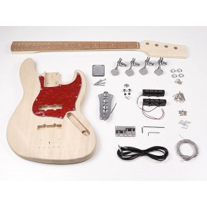 Bass guitar assembly kit, Jazz Bass model, mahogany body, maple neck, pauferro fb, chrome hardware
