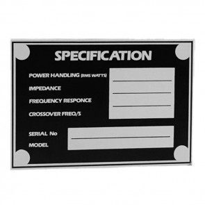 Speaker Specification label