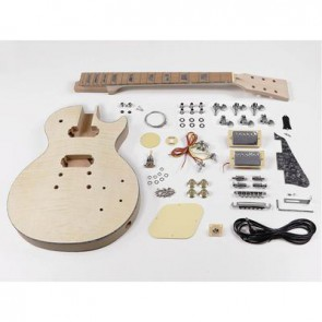 Guitar assembly kit, LP model, mahogany/flamed maple body, mahogany set neck, pauferro fb
