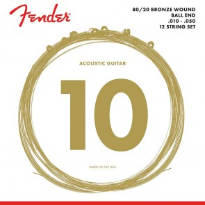 Fender 80/20 Bronze string set acoustic bronze roundwound 12-string ball ends 010-050