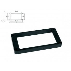 Pickup ring, humbucker, plastic, black, height: 10,0-11,7mm, high, flat