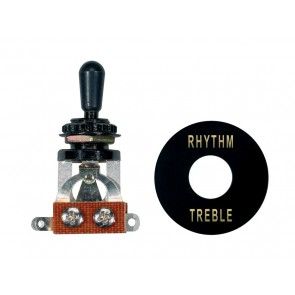 Toggle switch 3-way, with black plate and cap