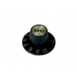 Witch hat knob, with gold cap, black, volume
