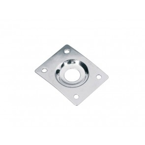 Jack plate, rectangular, recessed hole, chrome, slanted metal
